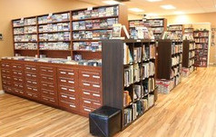 The Abbotsford location of The Bookman with their neck-saving drawers.